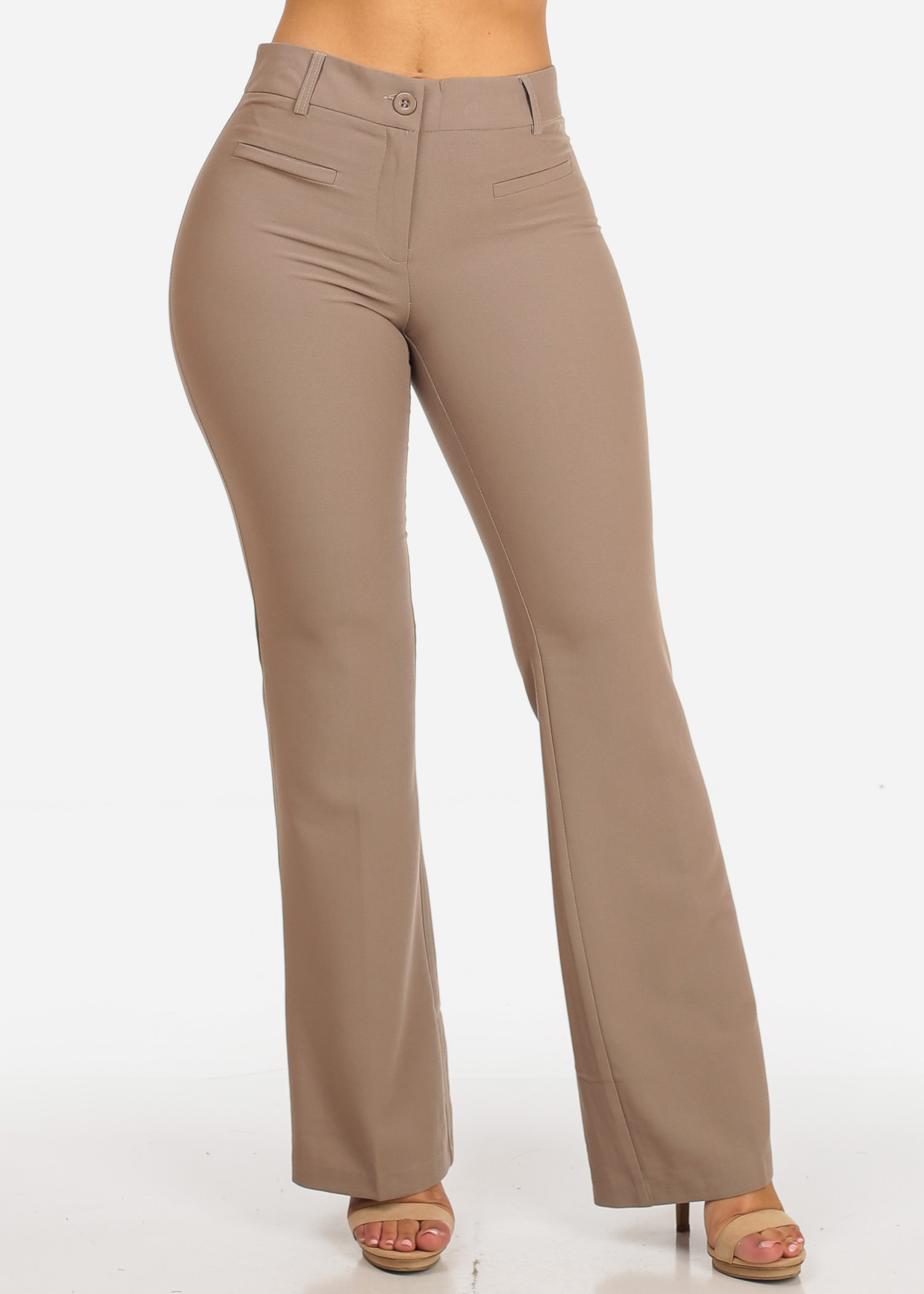Womens Juniors Evening Wear Career Office Work Wear Mid Rise 1 Button Flared Leg Bootcut Solid Khaki Beige Dressy Pants 10036R