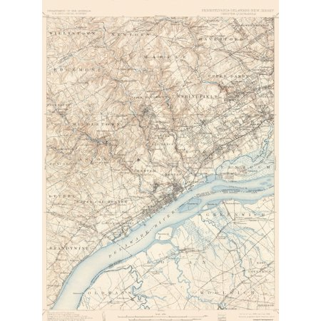 Chester New Jersey Map.Topographical Map Chester Pennsylvania New Jersey Deleware 1898