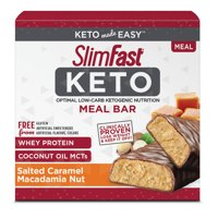 SlimFast Keto Meal Replacement Bar Salted Caramel Macadamia, 1.48 Oz, 5 Count