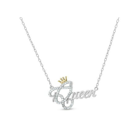 White CZ Sterling Silver and 18kt Gold over Sterling Silver Queen Crown Necklace, 18
