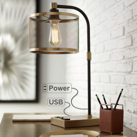 360 Lighting Brody Antique Brass Desk Lamp with USB and Outlet