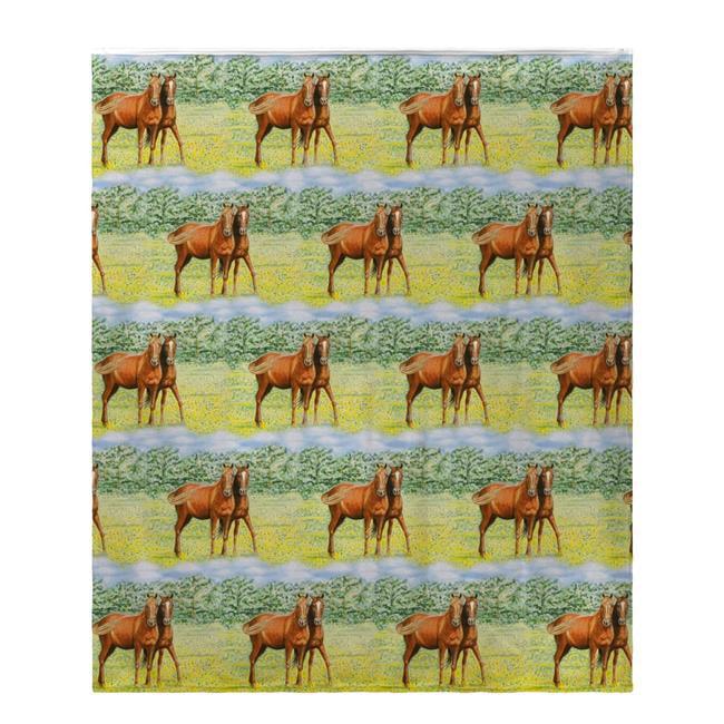 Betsy Drake BK057 Two Horses Fleece Throw