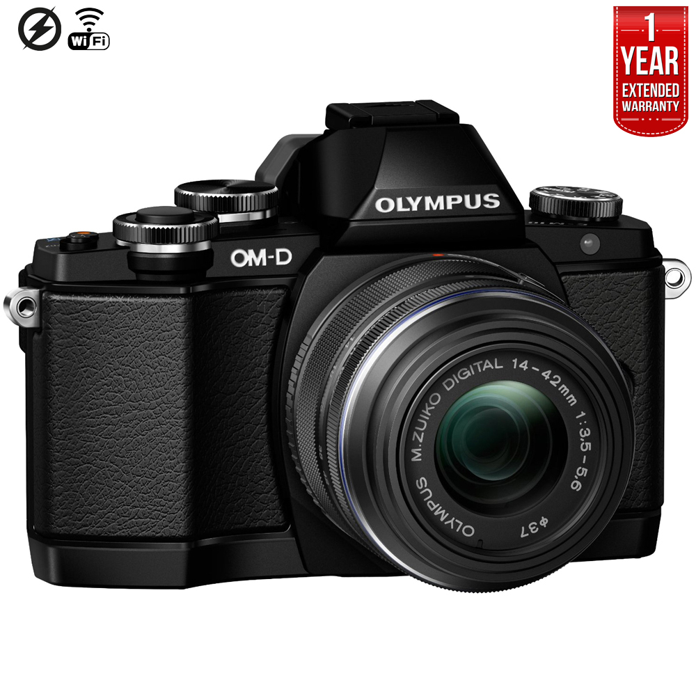 Olympus E-M10 w/ 14-42mm Lens- Black, 16MP, EVF, 8 fps, T...