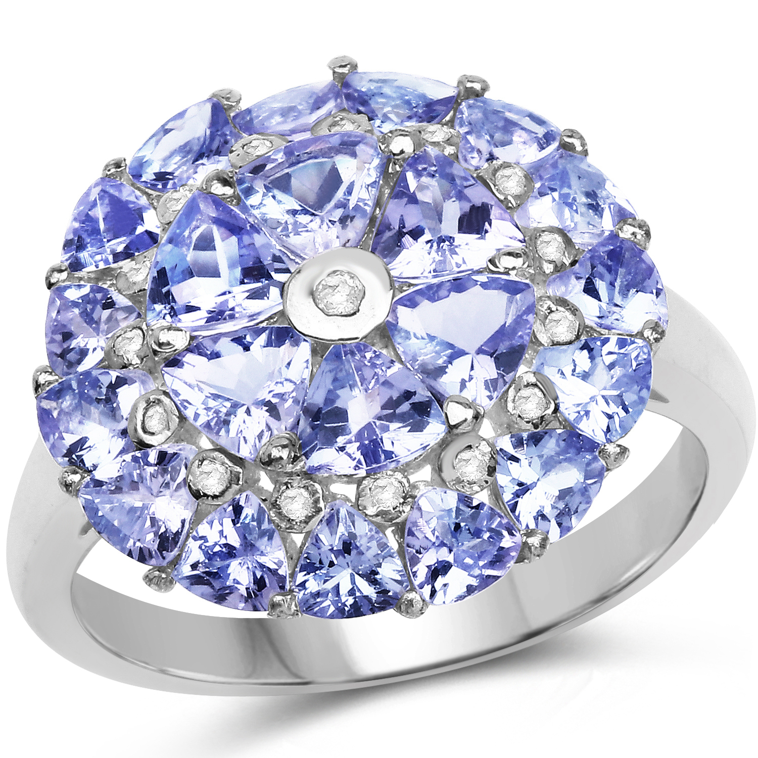 Genuine Trillion Tanzanite and Tanzanite Ring in Sterling Silver Size 7.00 by Bonyak Jewelry