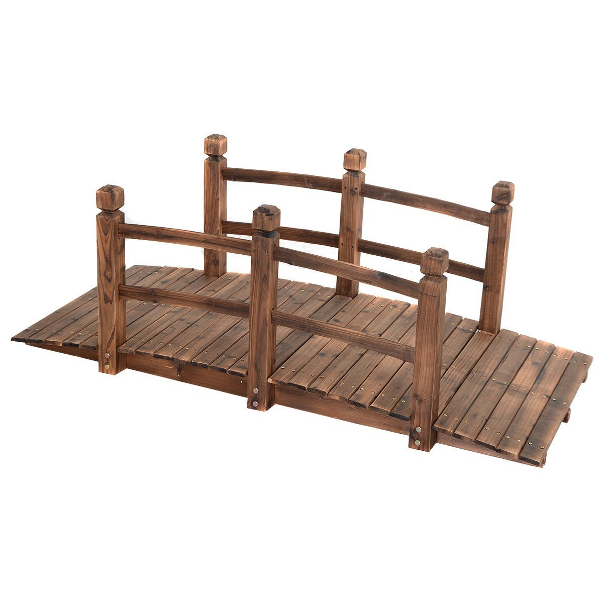 5' Wooden Bridge Stained Finish Decorative Solid Wood Garden Pond Arch Walkway