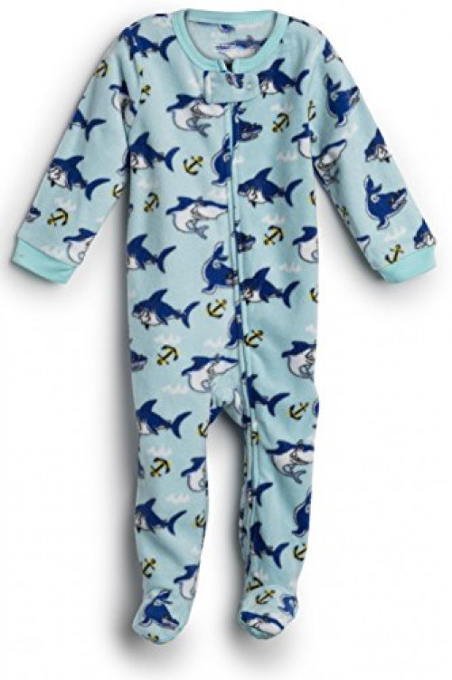 Elowel Baby Girls Footed Shark Fish Pajama Sleeper 100% Cotton 12-18 Months
