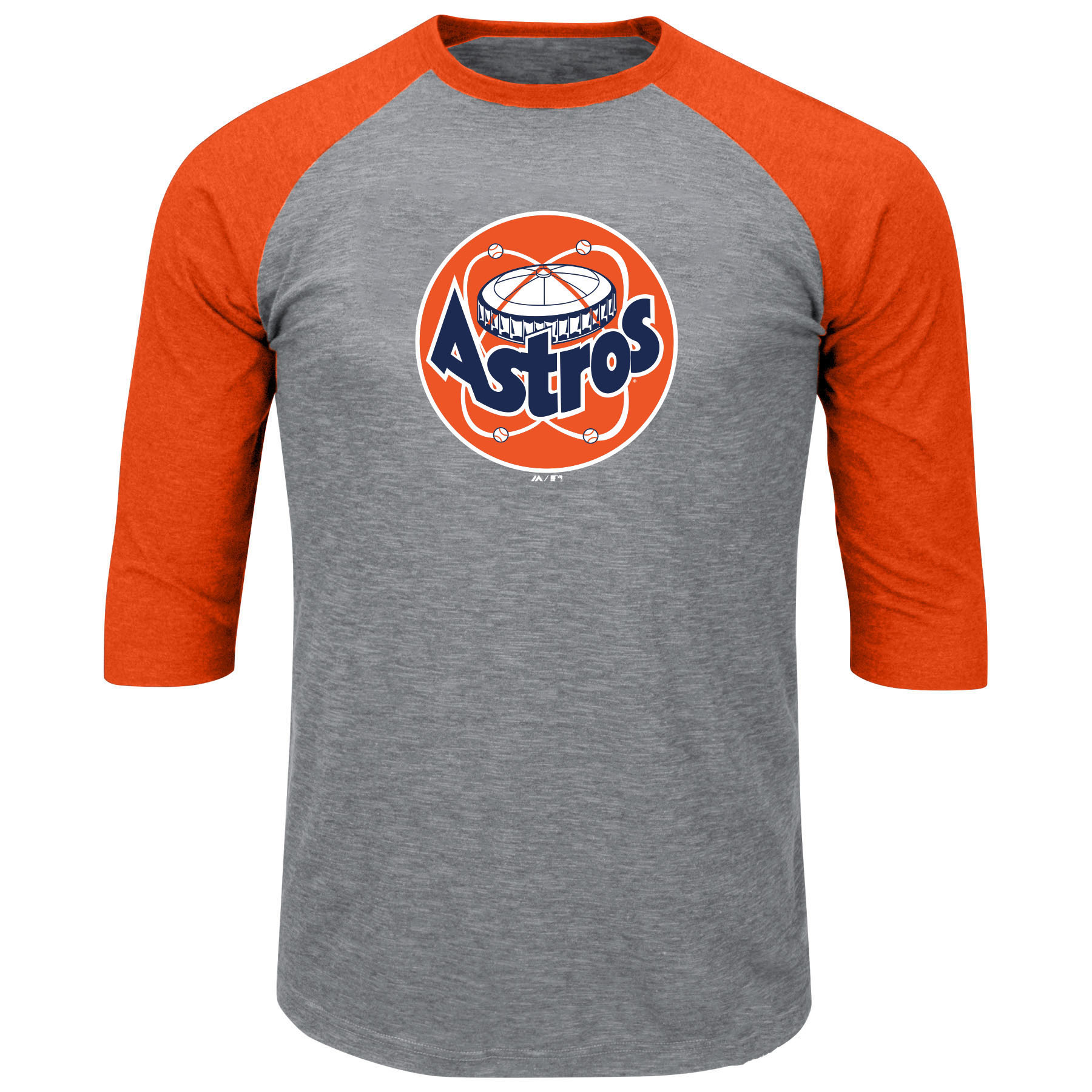 Houston Astros Majestic Big & Tall Cooperstown Collection 3/4-Sleeve Raglan T-Shirt - Heathered Gray/Orange