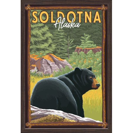 Soldotna, Alaska - Black Bear in Forest - Lantern Press Artwork (16x24 Giclee Art Print, Gallery Framed, Espresso Wood) Black Forest Wood Products