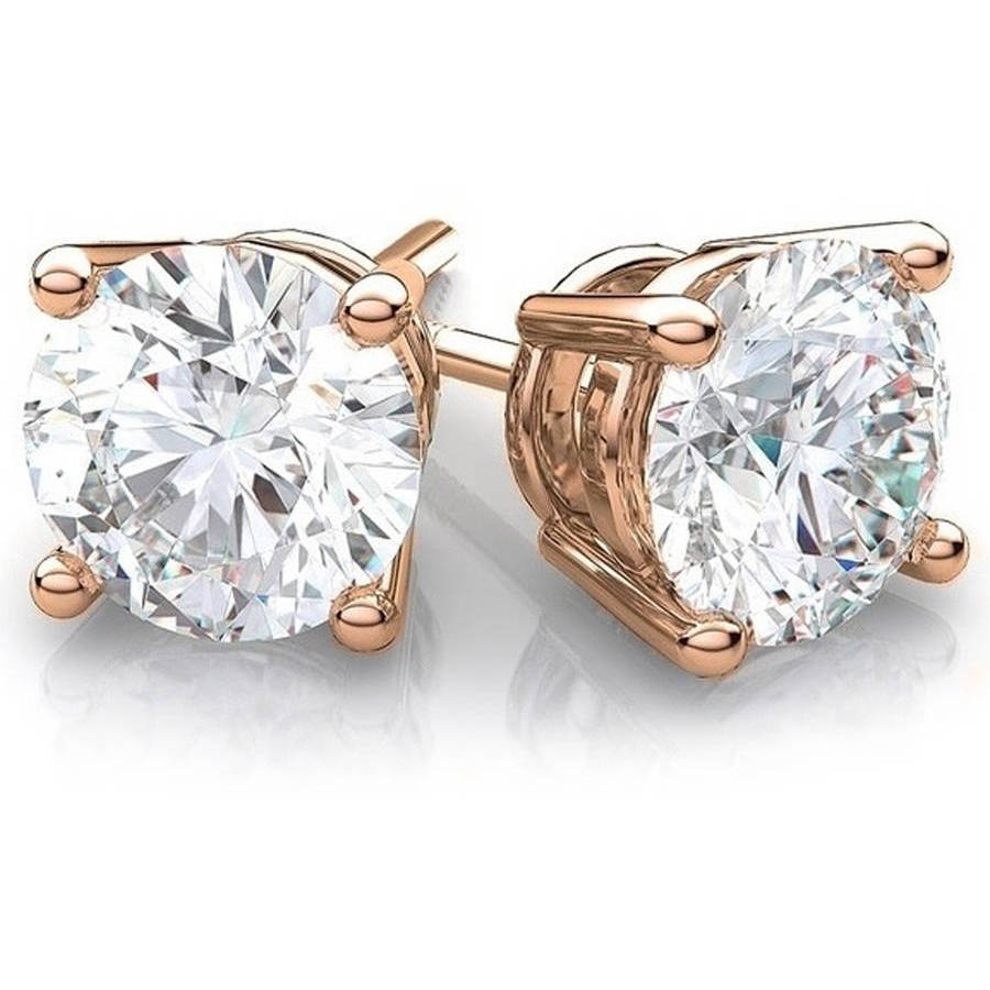 A&M CZ 14kt Rose Gold Stud Earrings, 4mm