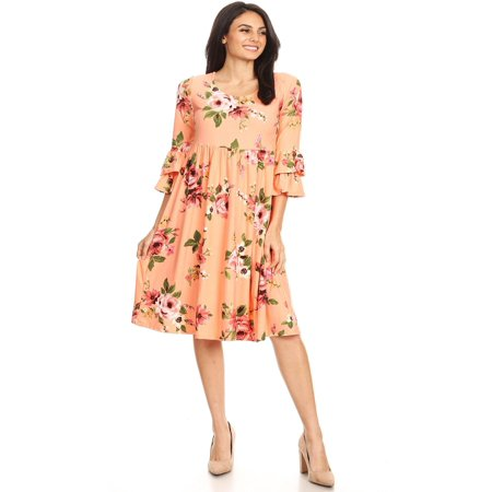 MOA COLLECTION Women's Floral Print Casual Loose Fit Flare Tie 3/4 Bell Sleeve Midi Dress/Made in (Fit And Flare Dress With 3 4 Sleeves)