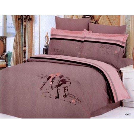 6 pc queen hockey duvet cover bedding set. Black Bedroom Furniture Sets. Home Design Ideas