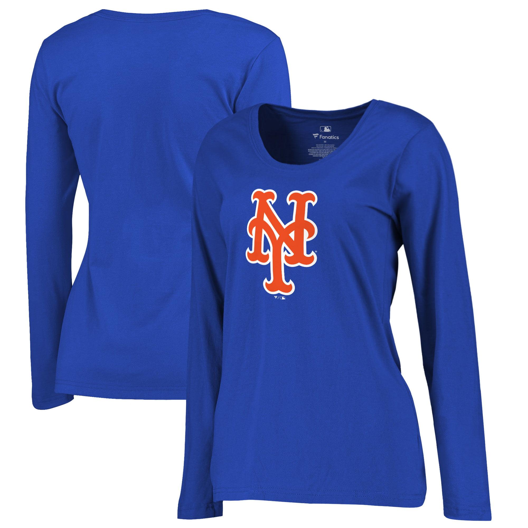 New York Mets Women's Plus Sizes Primary Team Logo Long Sleeve T-Shirt - Royal