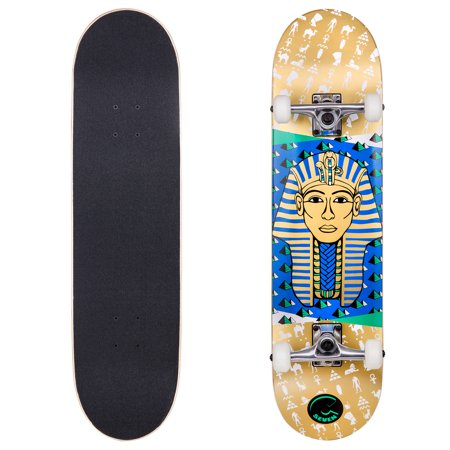 Cal 7 Egyptian Pharaoh Complete Skateboard, 8 Inch Deck with 52mm 99A Wheels, 5.25 Trucks & 7 Ply