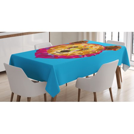Bear Tablecloth Geometrical Head Figure With Triangular Fractal Pattern Poly Effect Rectangular Table