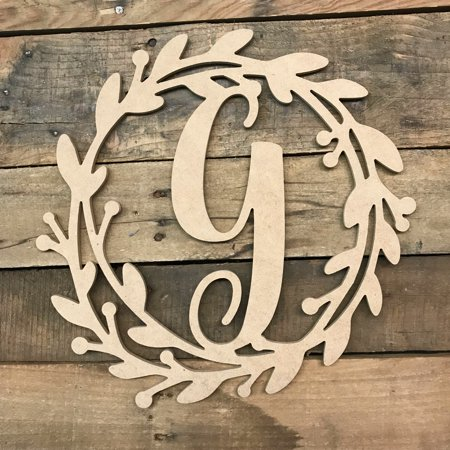 Wooden Cursive Wreath Frame Monogram 12'' G, Wood Letter Cutout](Letter G Halloween)