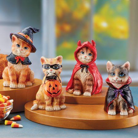 Hand Painted Halloween Pumpkins (Collections Etc Adorable Decorative Halloween Cat Statues Set with Hand Painted Details for Indoors, Tabletop, 4)