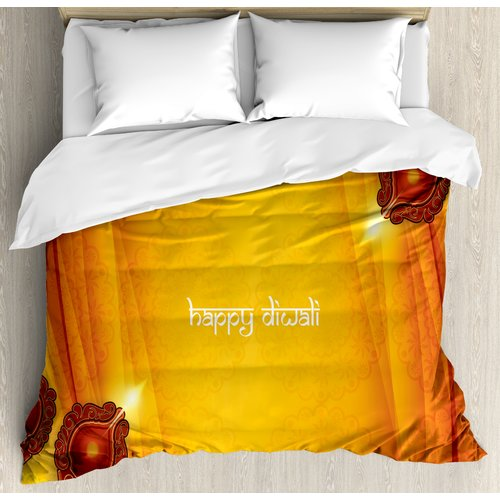 Ambesonne Diwali Curtain Like Indian Inspired Backdrop with Wooden Oriental Carving Frames Print Duvet Set
