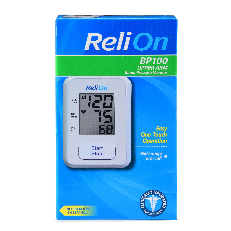 Relion Bp100 Upper Arm Automatic Blood Pressure Monitor Walmart