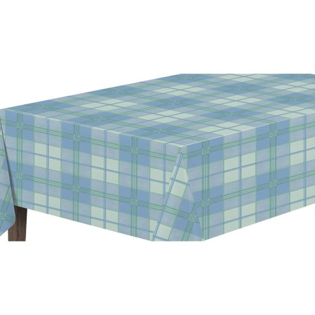 Ottomanson Vinly Blue Plaid Design Indoor and Outdoor Non-Woven Backing Tablecloth](Blue Plaid Tablecloth)