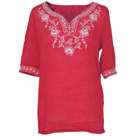 - Faship Womens Short Sleeve Embroidered Embroidery Tunic Top Blouse