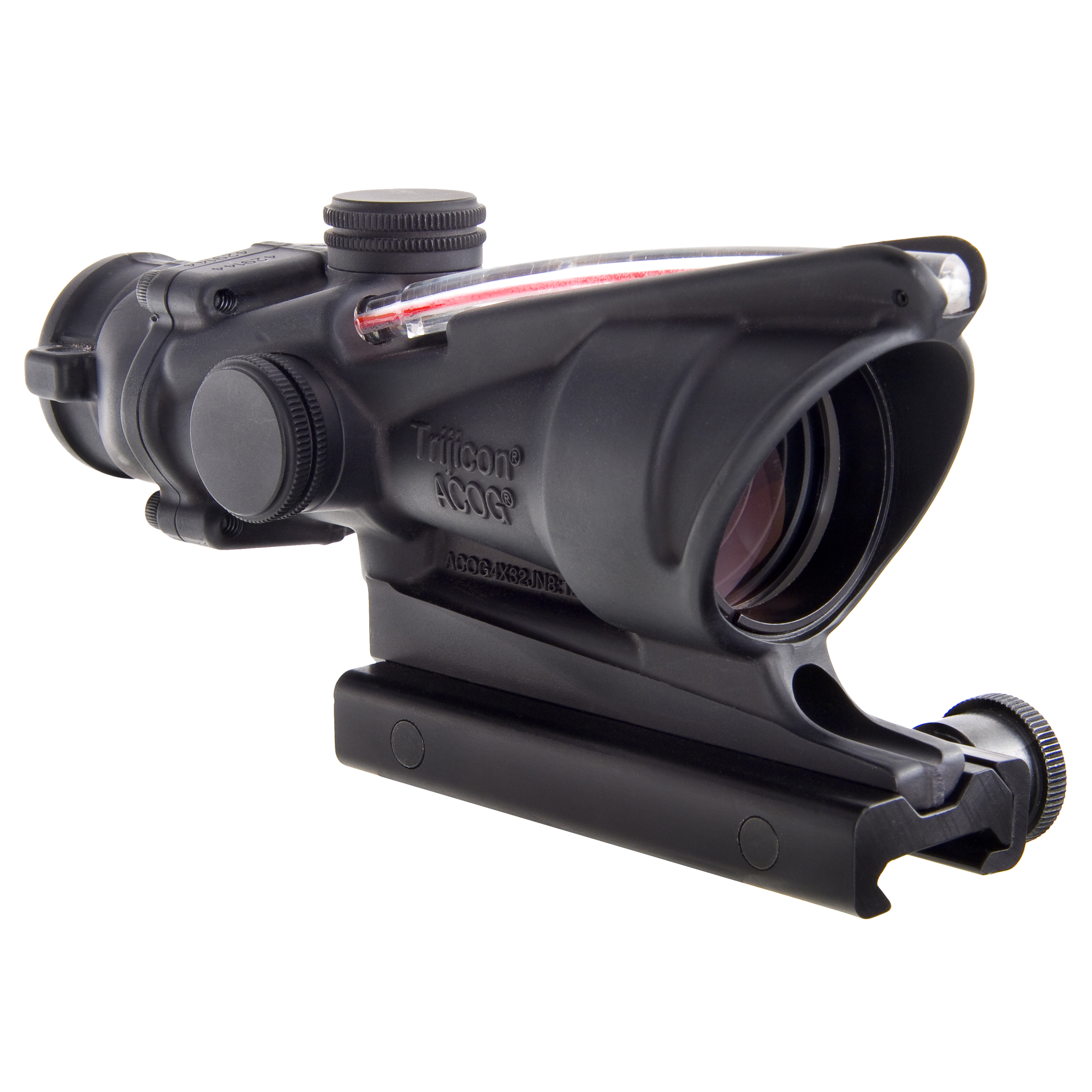 Click here to buy Trijicon ACOG 4x32mm Dual Illuminated Scope Red Chevron M193 Reticle with TA51 Mount, Black by Trijicon.