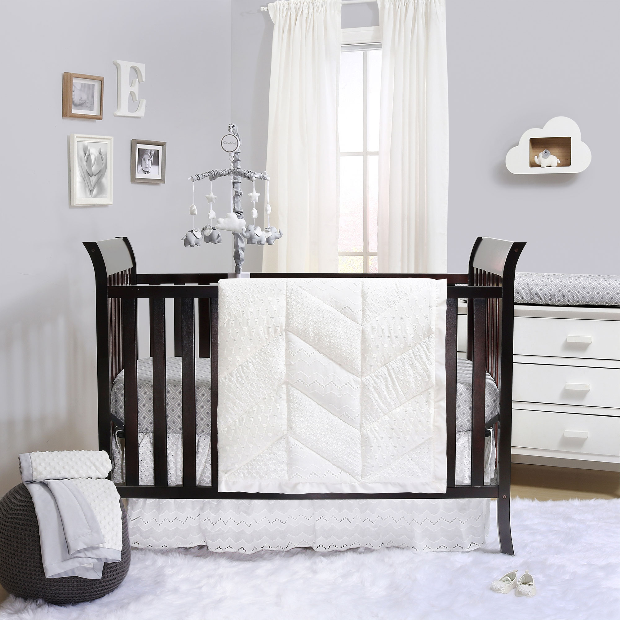 Taylor White Eyelet 6 Piece Deluxe Baby Crib Bedding Set by The Peanut Shell by The Peanut Shell