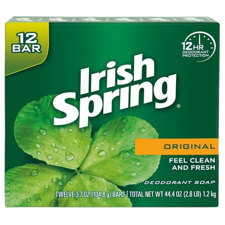 Irish Spring Original, Deodorant Bar Soap, 3.7 Ounce, 12 Bar - Aromatherapy Moisturizing Bar Soap