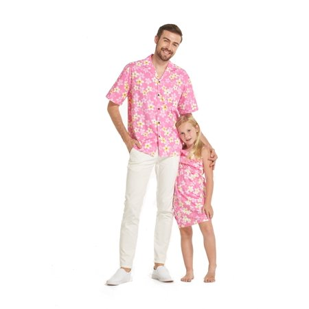 Pretty Dresses For Sale (Made in Hawaii Matching Father Daughter Luau Shirt Girl Ruffle Dress in Pretty Plumeria in Pink)