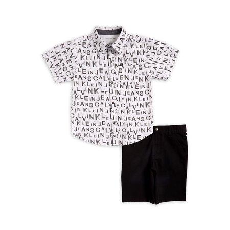 Little Boy's Logo Button-Down Shirt & Shorts Set