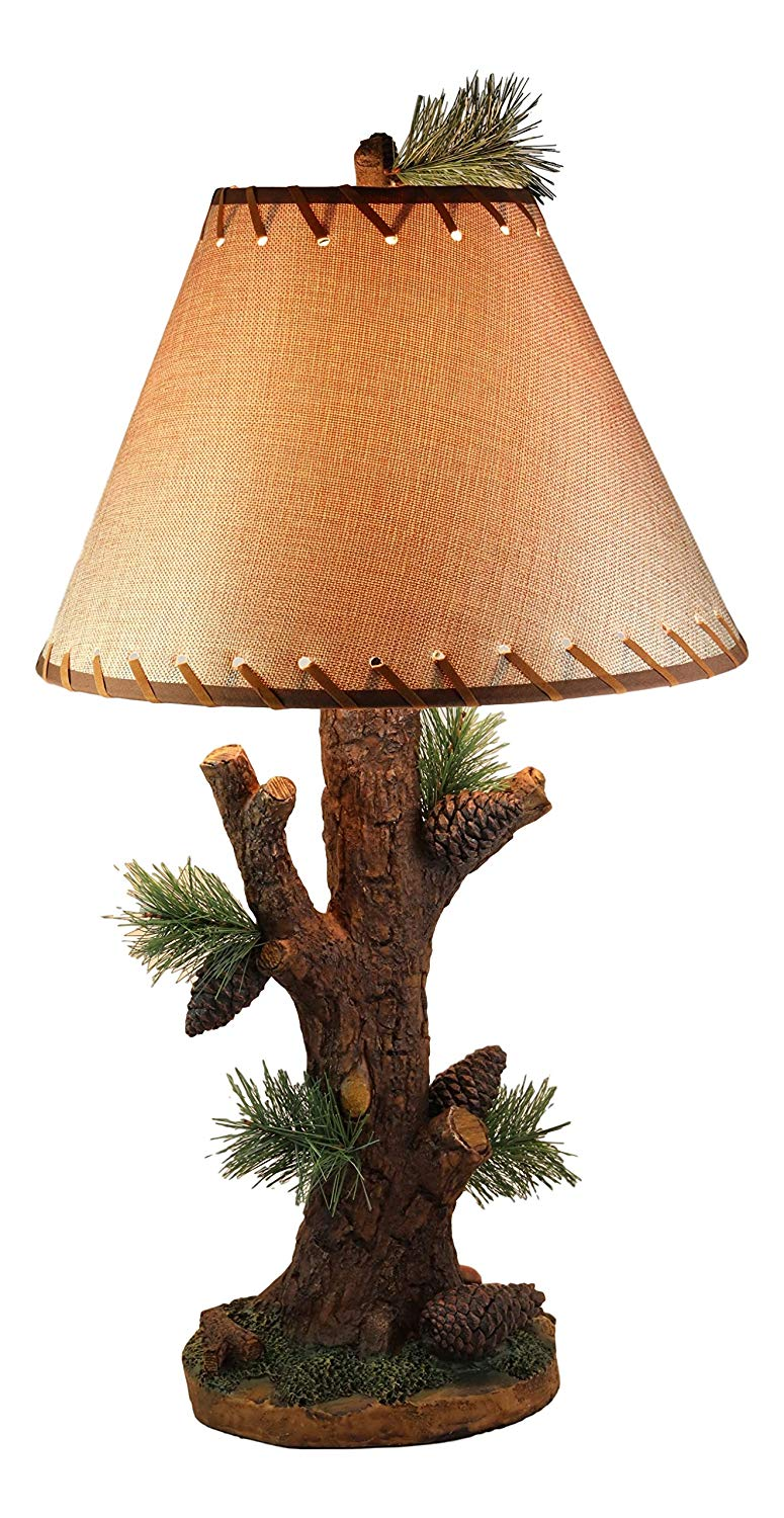 Ebros Large 26 75 H Rustic Cabin Lodge Mountain Vintage Design Decor Pine Tree Needles Pinecones And Bark Textured Side Table Lamp Statue With Shade Walmart Com Walmart Com