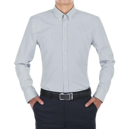 Verno Menâ s Navy Blue and White Plaid Slim Fit Dress Shirt
