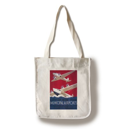 New York City Municipal Airport - Vintage Travel Poster (100% Cotton Tote Bag - Reusable)