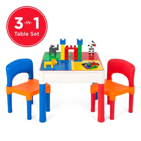 Best Choice Products 3-in-1 Kids Activity Recreational Play Table Set w/ Building Block Table, Craft Table, Water Table, Storage Compartment, 2 Chairs - Multicolor