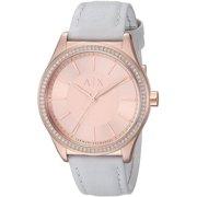 Women's Armani Exchange Crystalllized Grey Leather Strap Watch AX5444