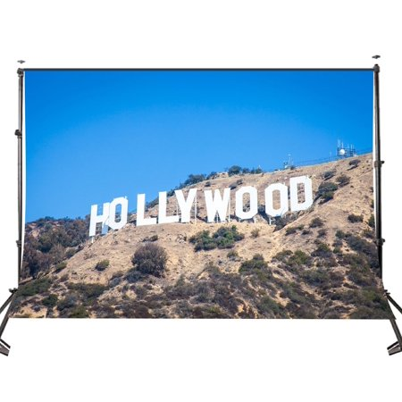 HelloDecor Polyster 5x7ft Photo Backdrop The Famous Los Angeles Hollywood Scenic Spots Picture Studio Photography Background Props - Hollywood Sign Backdrop