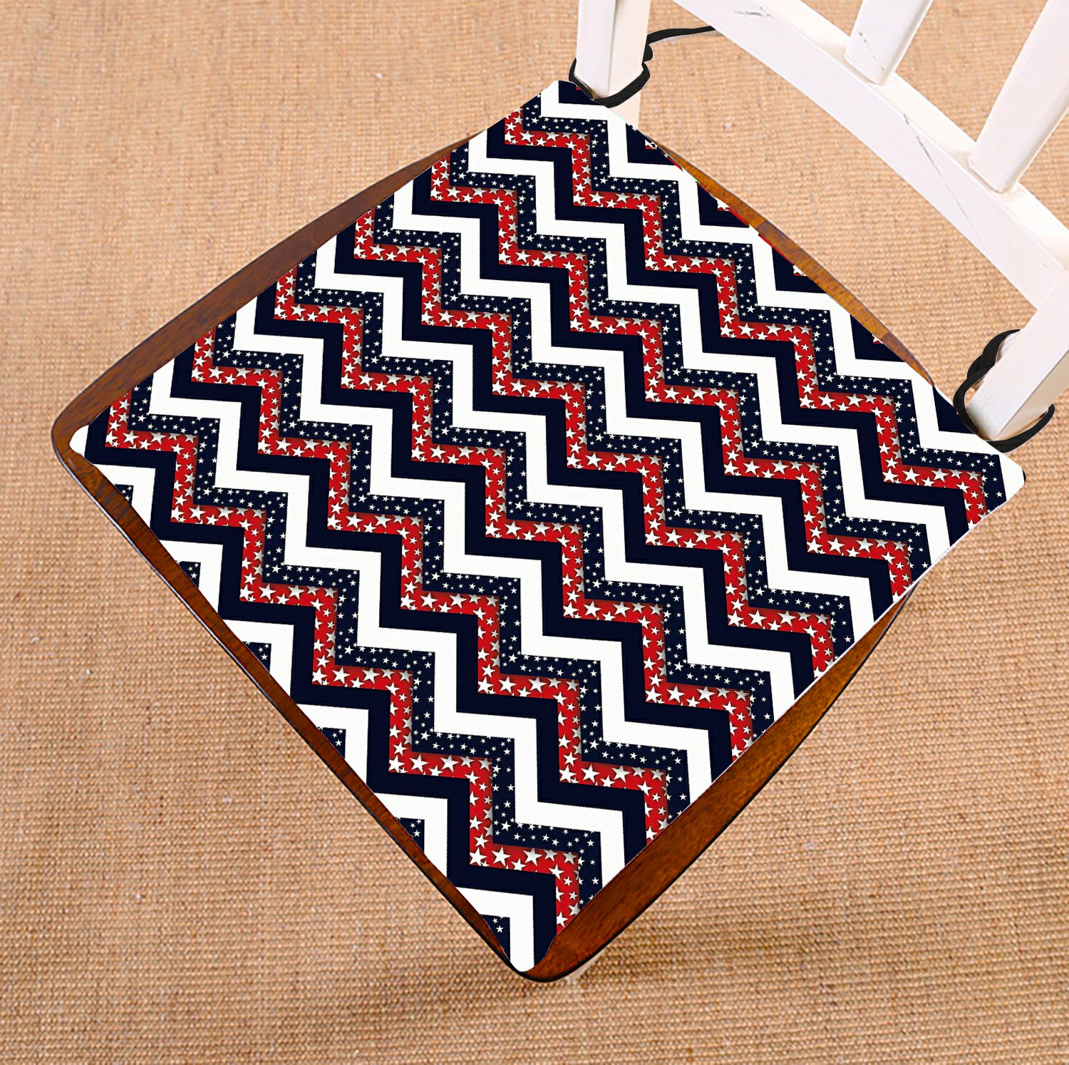 GCKG Dark Blue Red and White Star Chevron Chair Pad Seat Cushion Chair Cushion Floor Cushion with Breathable Memory Inner Cushion and Ties Two Sides Printing 16x16 inches