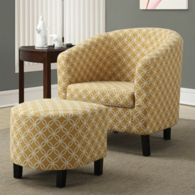 "Monarch Accent Chair 2Pcs Set/ Burnt Yellow "" Circular """