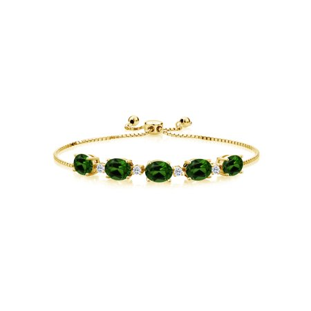 6.34 Ct Green Chrome Diopside White Topaz 18K Yellow Gold Plated Silver Bracelet