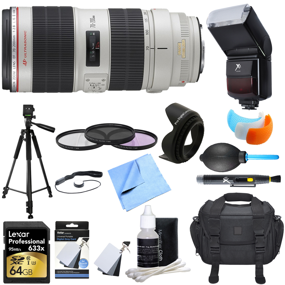 Canon 2751B002 EF 70-200mm f/2.8L IS II USM Telephoto Zoom Lens EOS DSLR Camera Ultimate Accessory Bundle includes Lens, 64GB SDXC Memory Card, Tripod, Filter Kit, Lens Hood, Bag, Cleaning Kit & More