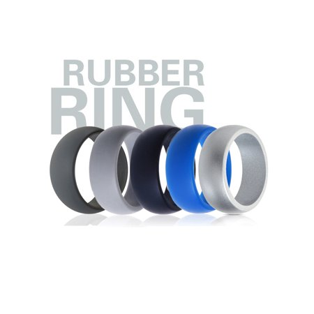 Silicone Mens Ring (TSV 5 Pcs Silicone Wedding Ring Rubber Band Sport Outdoor Flexible Men Women)
