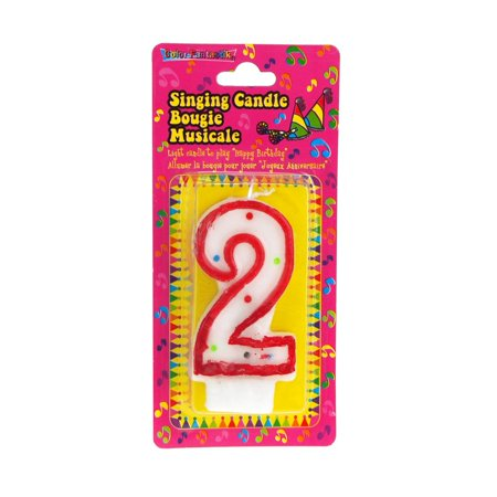 Number 2 Singing Birthday Candle, 2-1/2-Inch - Number 2 Candle