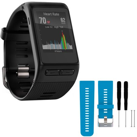 Garmin Vivoactive Hr Gps Smartwatch   X Large Fit   Black  010 01605 04  With General Brand Silicone Band Strap   Tools For Garmin Vivoactive Hr Sport Watch  Blue