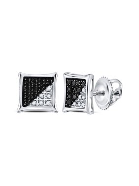 FB Jewels Sterling Silver Mens Round Black Color Enhanced Diamond Square Kite Earrings 1/10 Cttw