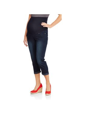 3c6e0269d5b Product Image Maternity Roll Cuff Overbelly Denim Capris - Available in Plus  Sizes