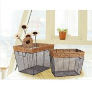 Adeco Trading Iron Wire Rectangular Basket with Mesh Body (Set of 3)