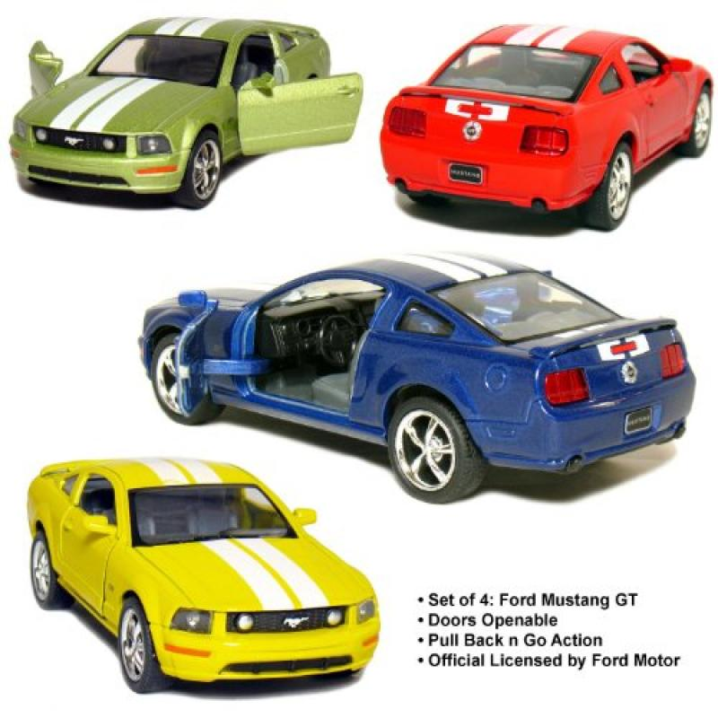 """Set of 4: 5"""" 2006 Ford Mustang GT with Stripes 1:38 Scale..."""