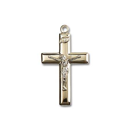 14kt Yellow Gold Crucifix Medal 1 3/8 x 3/4 (3/4 Inch 14kt Gold Crucifix)
