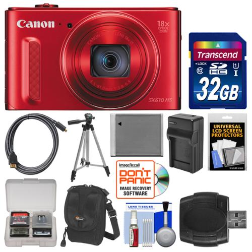 Canon PowerShot SX610 HS Wi-Fi Digital Camera (Red) with 32GB Card + Case + Battery & Charger + Tripod + HDMI Cable + Kit