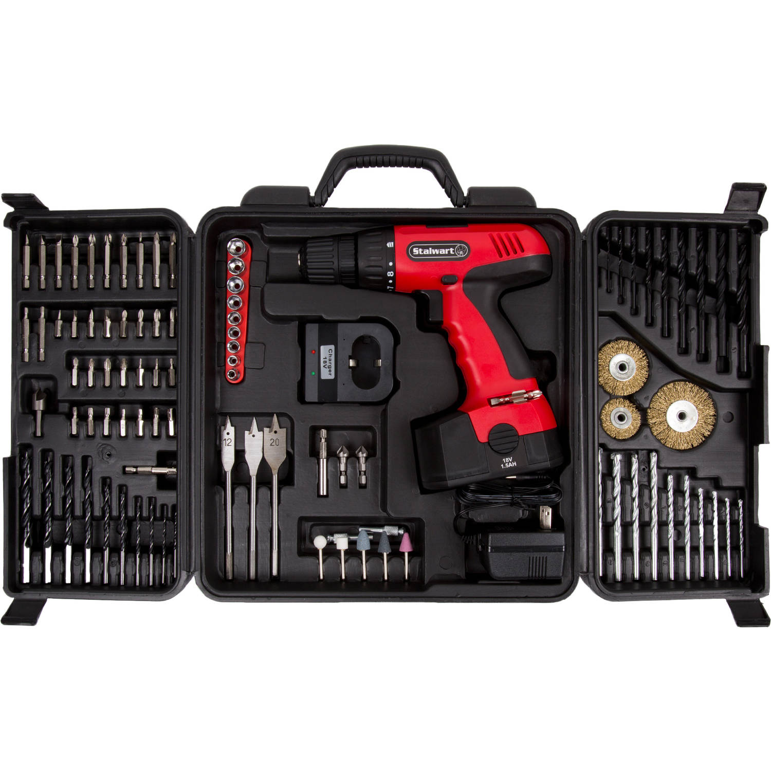 Stalwart 75-CD91 18-Volt Cordless Drill with 89-Piece Drill Set