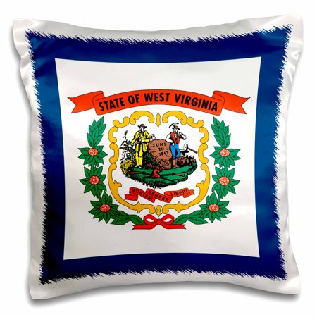 State Coat Of Arms - 3dRose Flag of West Virginia WV - US American United State of America USA. Farmer miner coat of arms wreath - Pillow Case, 16 by 16-inch